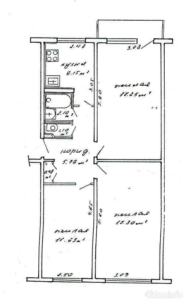 3-комнатная квартира. г. Минск, ул. Уборевича, 166 — фото 1